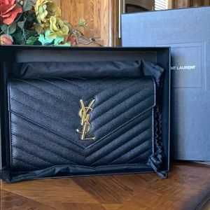 YSL black wallet on a chain